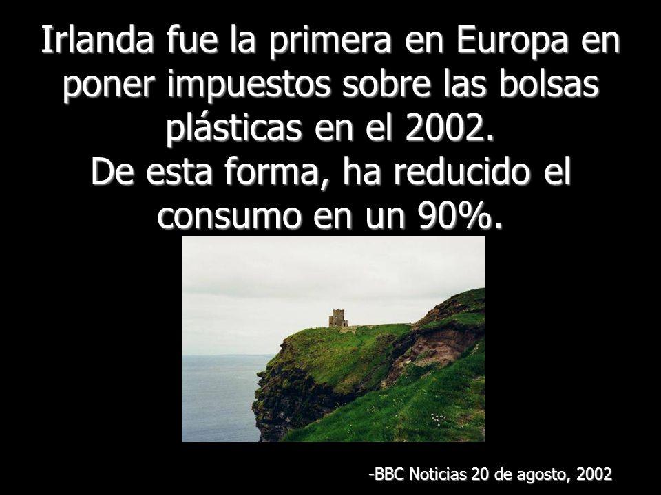 Irlanda fue la primera en Europa en poner impuestos sobre las bolsas plásticas en el 2002.