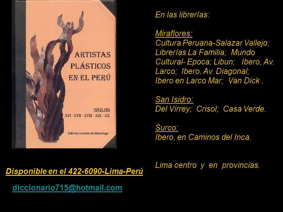 Artista que figura en el Diccionario de 530 pag. Carátula, escultura de Armando Varela Neyra. Lima - Perú. Disponible en el 422-6090-Lima-Perú marta c