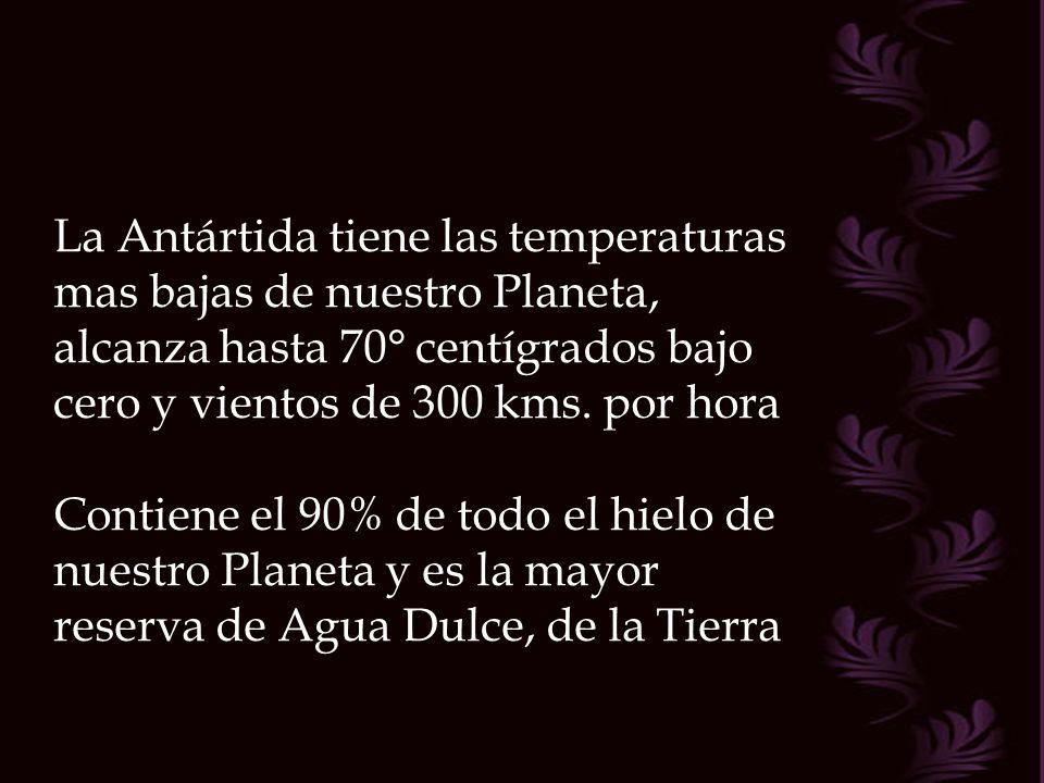 La Antártida tiene las temperaturas mas bajas de nuestro Planeta, alcanza hasta 70° centígrados bajo cero y vientos de 300 kms.