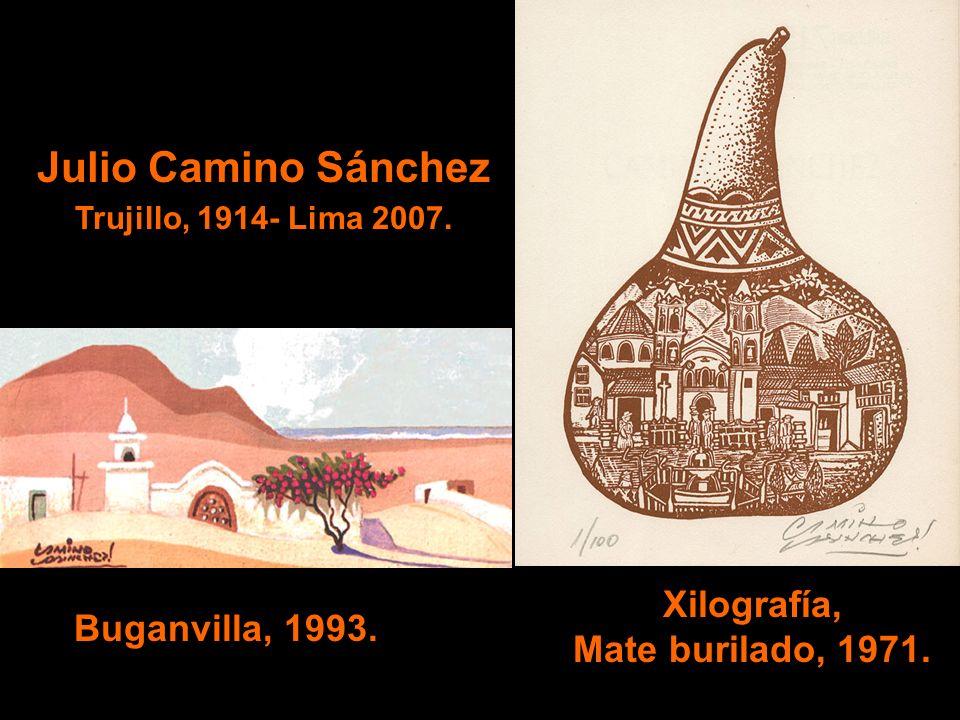 Julio Camino Sánchez Trujillo, 1914- Lima 2007. Xilografía, Mate burilado, 1971. Buganvilla, 1993.