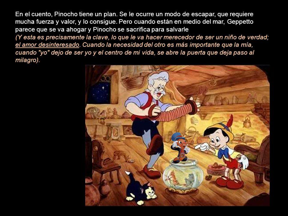 Cuando Pinocho y Pepe Grillo buscan a Geppetto en el mar, los traga la misma ballena. En el vientre de ésta tiene lugar una alegre reunión de Pinocho