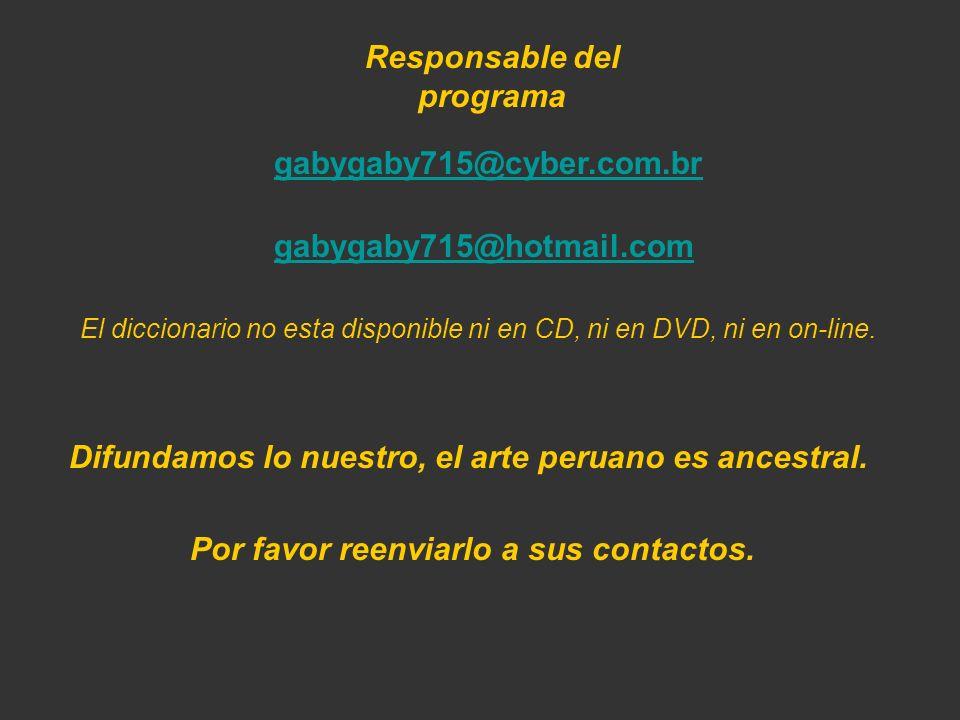 Disponible en el 422-6090-Lima-Perú marta couto revolledo diccionario715@hotmail.com En las librerías: Miraflores: Cultura Peruana-Salazar Vallejo; Ze