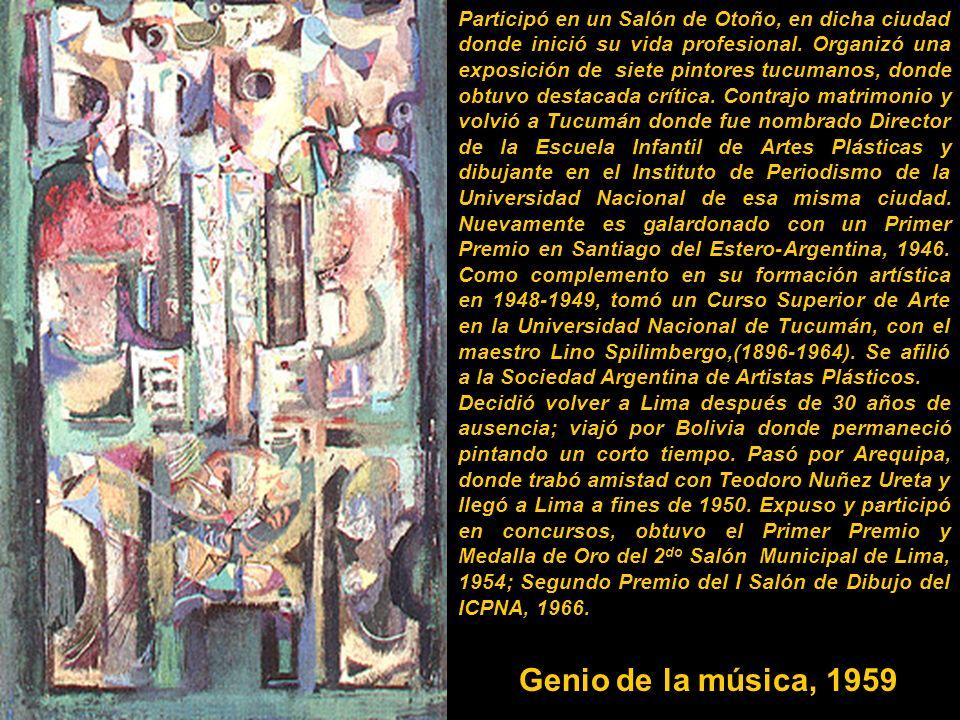 En 1945 le envió a su hermano Raúl una pintura, que éste presenta en el Salón Anual de Tucumán, empatando el primer puesto, que por voto dirimente del