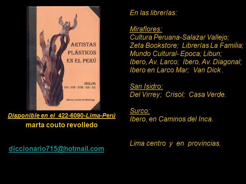 Artistas que figuran en el Diccionario de 530 pag. Carátula, escultura de Armando Varela Neyra. Lima - Perú. Disponible en el 422-6090-Lima-Perú marta