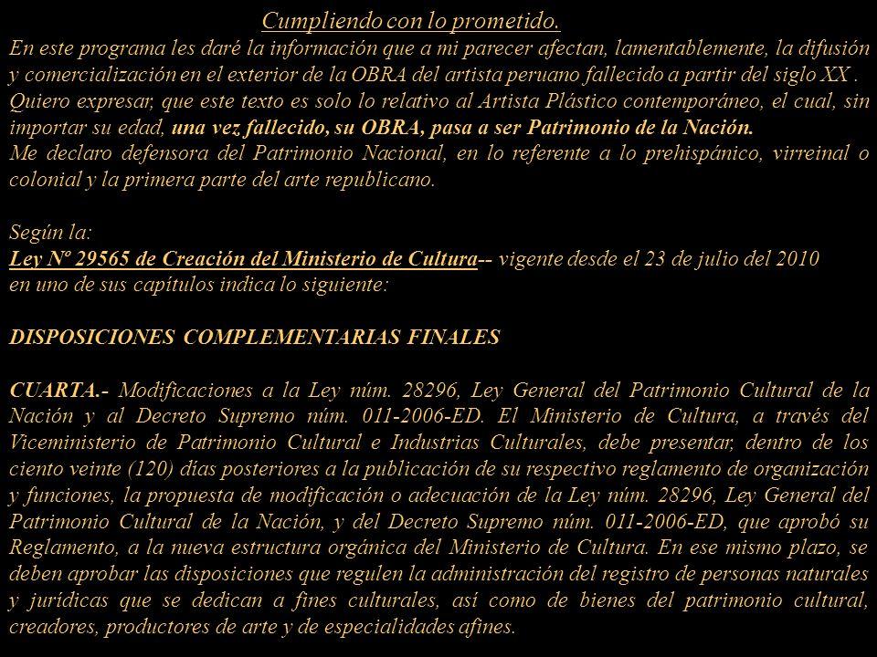 JUSTICIA y LIBERTAD al ARTE PERUANO CONTEMPORÁNEO Presentación Nº 48 Gabriela Lavarello Vargas de Velaochaga (Perú) - setiembre 2010