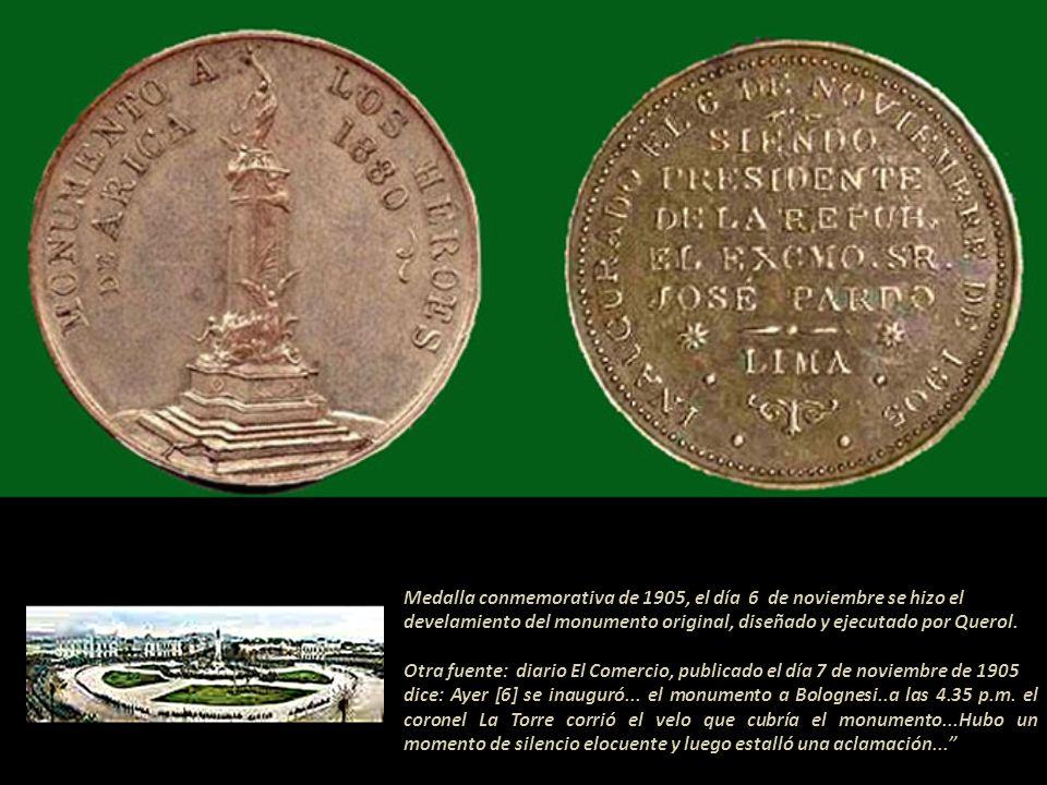 Medalla conmemorativa de 1902 Basada en la maqueta de Agustín Querol. El 29 de julio de 1902 se colocó la primera piedra y se inició la construcción d