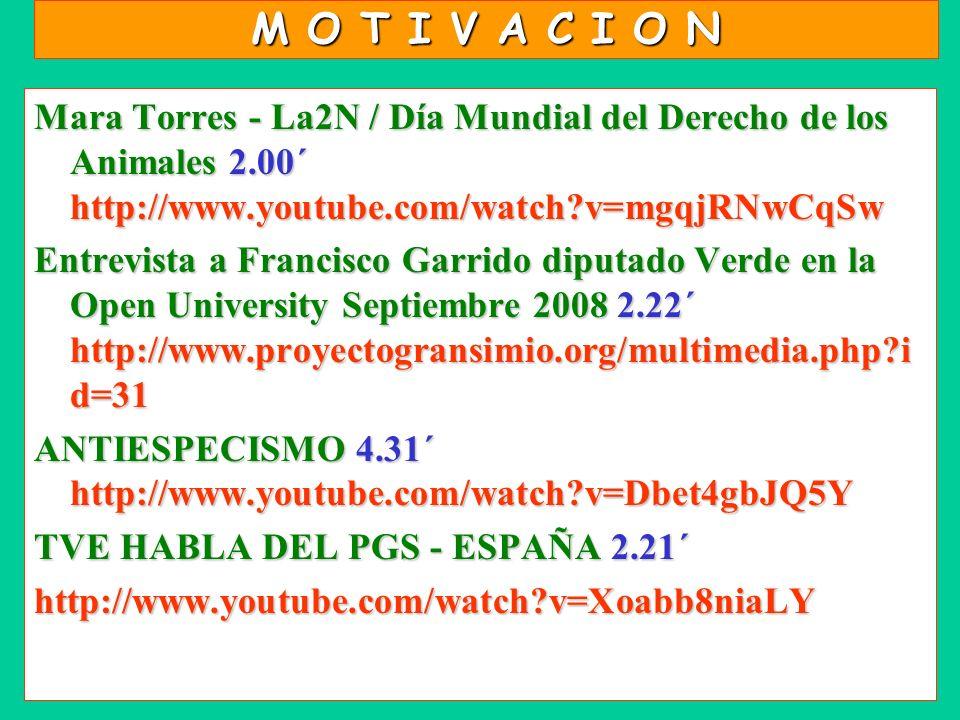M O T I V A C I O N Mara Torres - La2N / Día Mundial del Derecho de los Animales2.00´ http://www.youtube.com/watch?v=mgqjRNwCqSw Mara Torres - La2N /