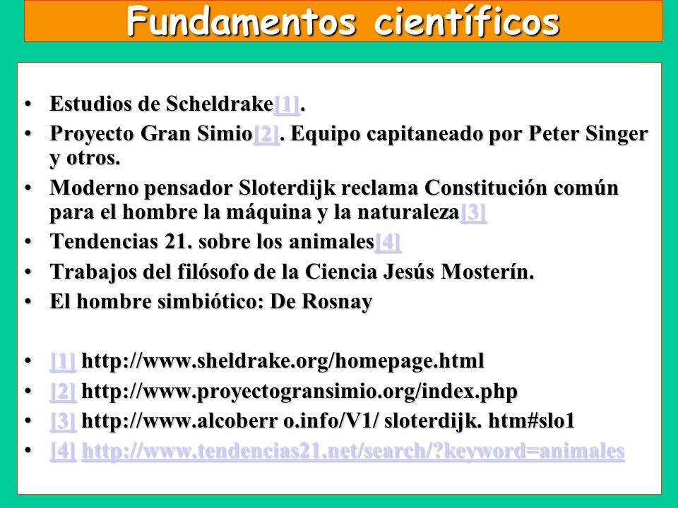 Fundamentos científicos Estudios de Scheldrake[1].Estudios de Scheldrake[1].[1] Proyecto Gran Simio[2]. Equipo capitaneado por Peter Singer y otros.Pr
