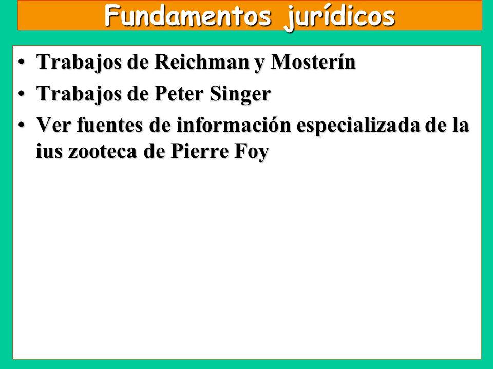 Fundamentos jurídicos Trabajos de Reichman y MosterínTrabajos de Reichman y Mosterín Trabajos de Peter SingerTrabajos de Peter Singer Ver fuentes de i