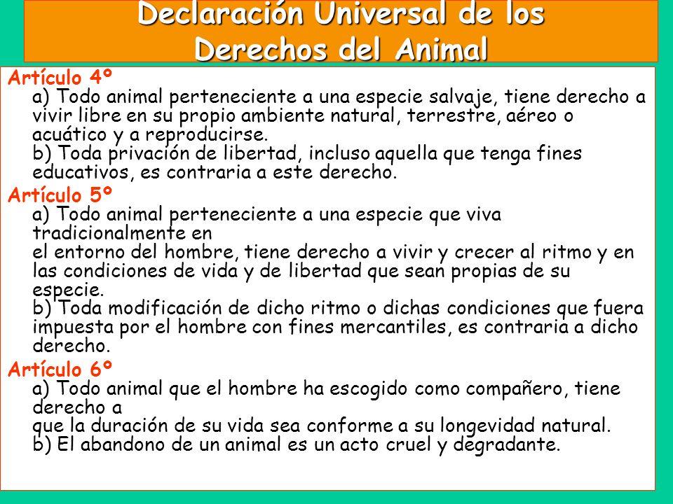 Declaración Universal de los Derechos del Animal Artículo 4º a) Todo animal perteneciente a una especie salvaje, tiene derecho a vivir libre en su pro