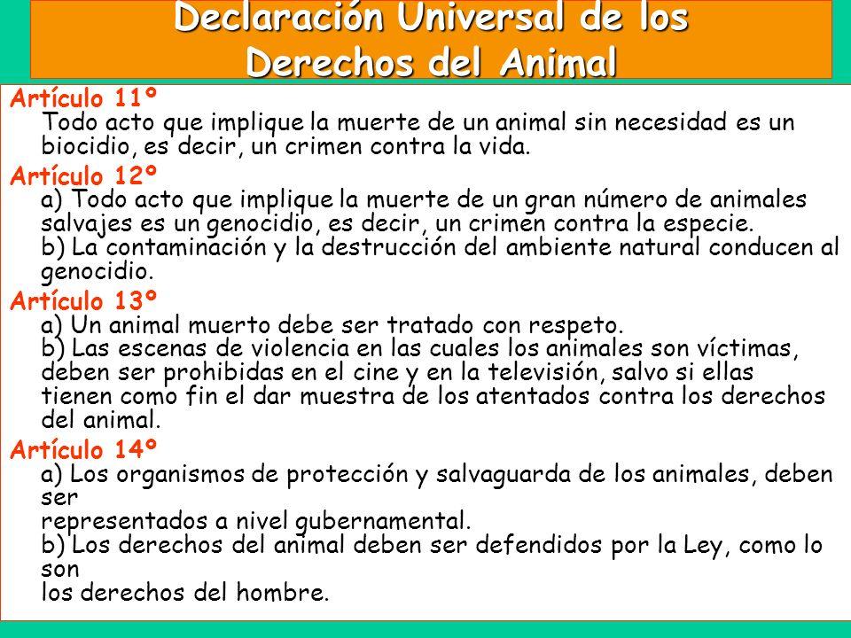 Declaración Universal de los Derechos del Animal Artículo 11º Todo acto que implique la muerte de un animal sin necesidad es un biocidio, es decir, un