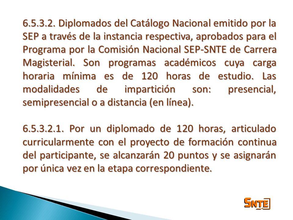 6.5.3.2. Diplomados del Catálogo Nacional emitido por la SEP a través de la instancia respectiva, aprobados para el Programa por la Comisión Nacional
