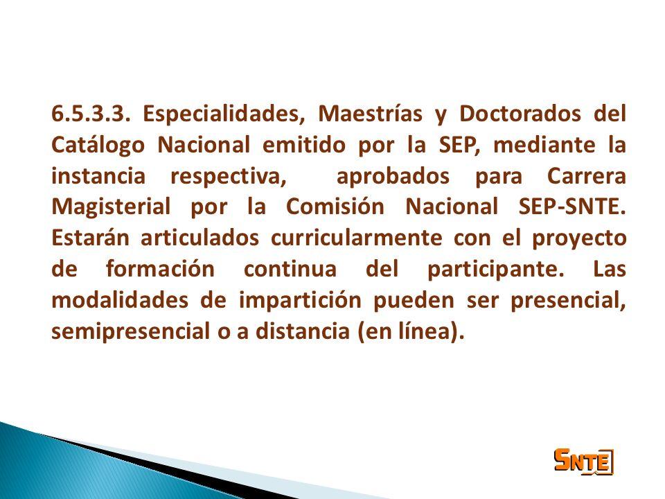 6.5.3.3. Especialidades, Maestrías y Doctorados del Catálogo Nacional emitido por la SEP, mediante la instancia respectiva, aprobados para Carrera Mag