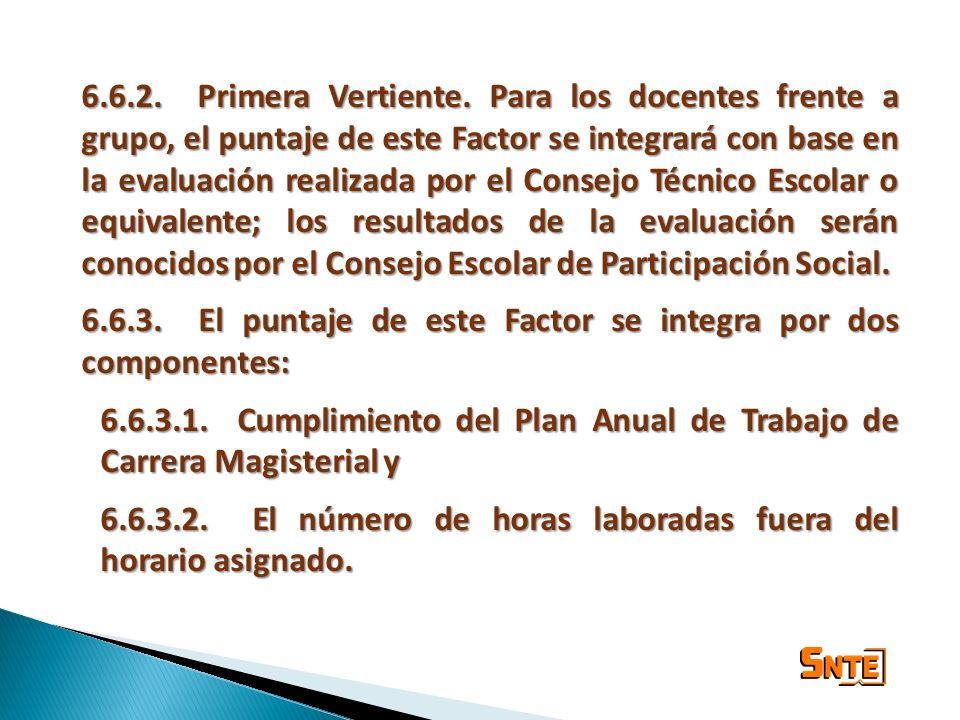 6.6.2. Primera Vertiente. Para los docentes frente a grupo, el puntaje de este Factor se integrará con base en la evaluación realizada por el Consejo