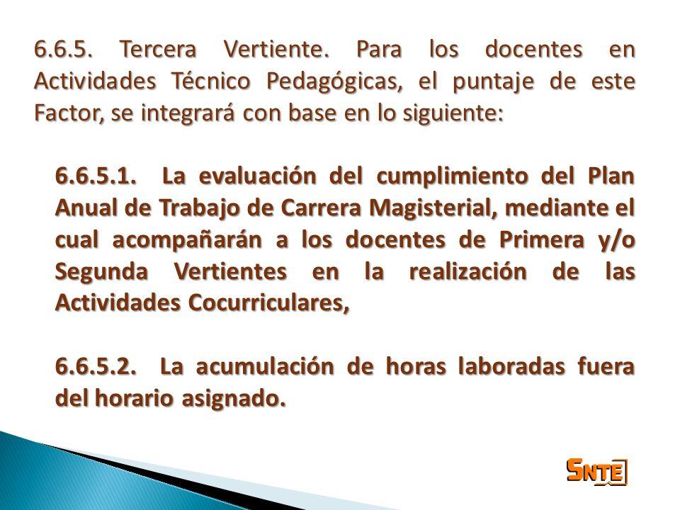 6.6.5. Tercera Vertiente. Para los docentes en Actividades Técnico Pedagógicas, el puntaje de este Factor, se integrará con base en lo siguiente: 6.6.