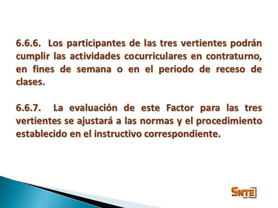 6.6.6. Los participantes de las tres vertientes podrán cumplir las actividades cocurriculares en contraturno, en fines de semana o en el periodo de re