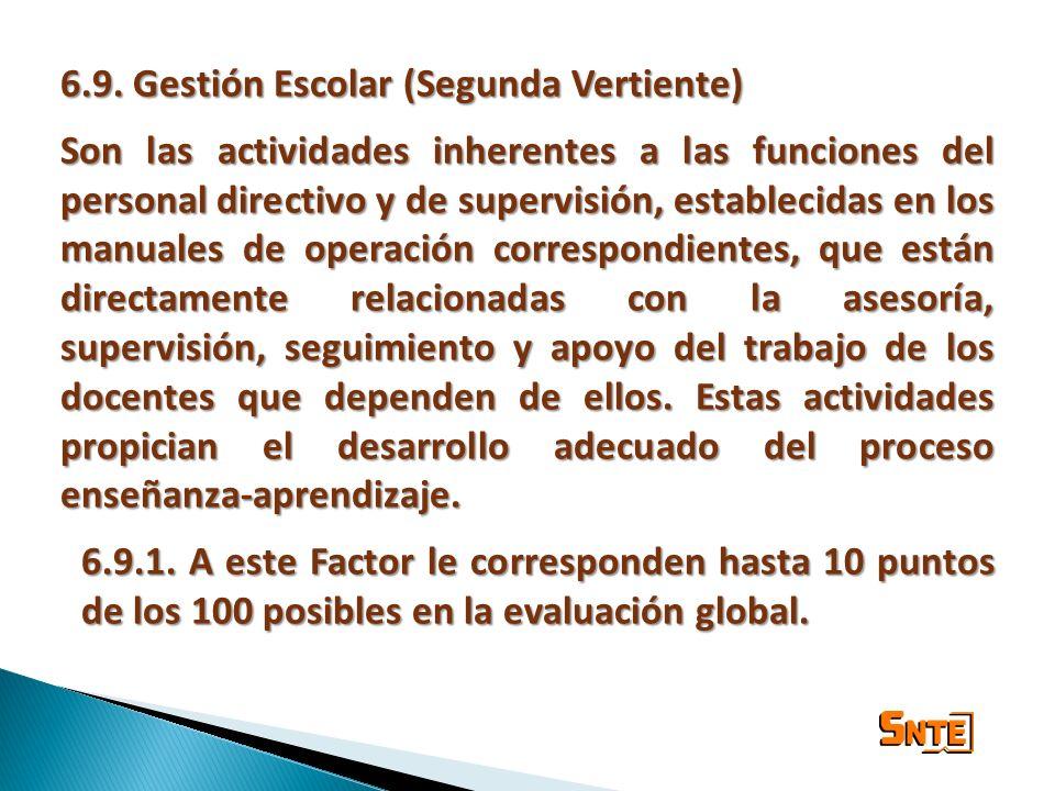 6.9. Gestión Escolar (Segunda Vertiente) Son las actividades inherentes a las funciones del personal directivo y de supervisión, establecidas en los m