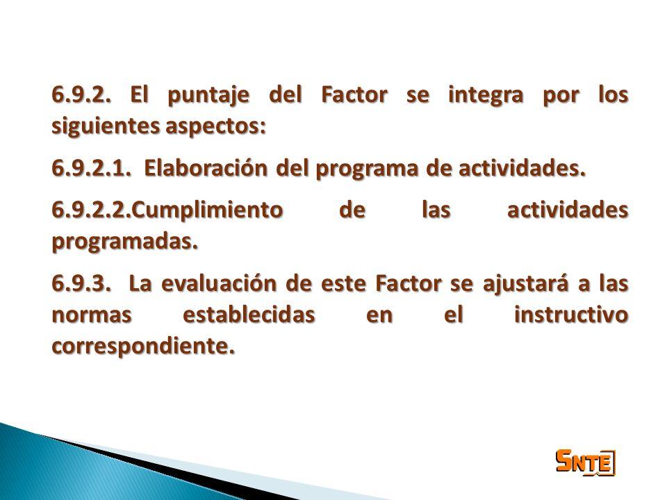 6.9.2. El puntaje del Factor se integra por los siguientes aspectos: 6.9.2.1. Elaboración del programa de actividades. 6.9.2.2.Cumplimiento de las act