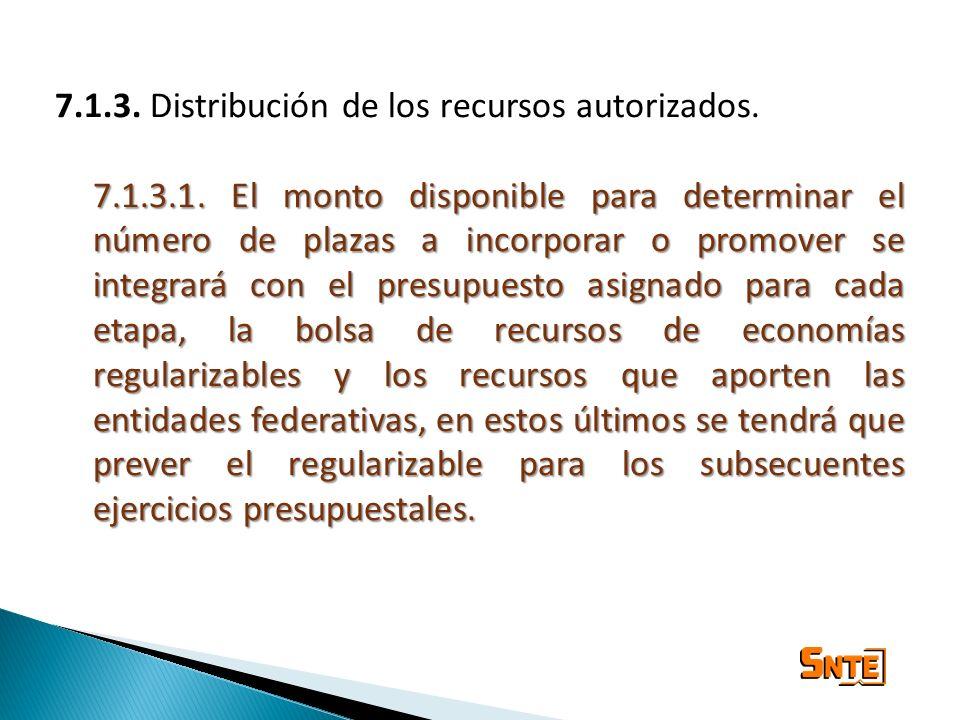 7.1.3. Distribución de los recursos autorizados. 7.1.3.1. El monto disponible para determinar el número de plazas a incorporar o promover se integrará