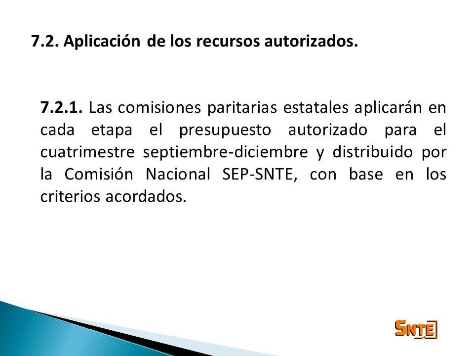 7.2. Aplicación de los recursos autorizados. 7.2.1. Las comisiones paritarias estatales aplicarán en cada etapa el presupuesto autorizado para el cuat