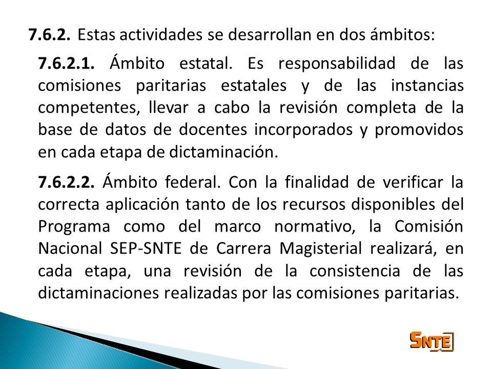 7.6.2.Estas actividades se desarrollan en dos ámbitos: 7.6.2.1. Ámbito estatal. Es responsabilidad de las comisiones paritarias estatales y de las ins