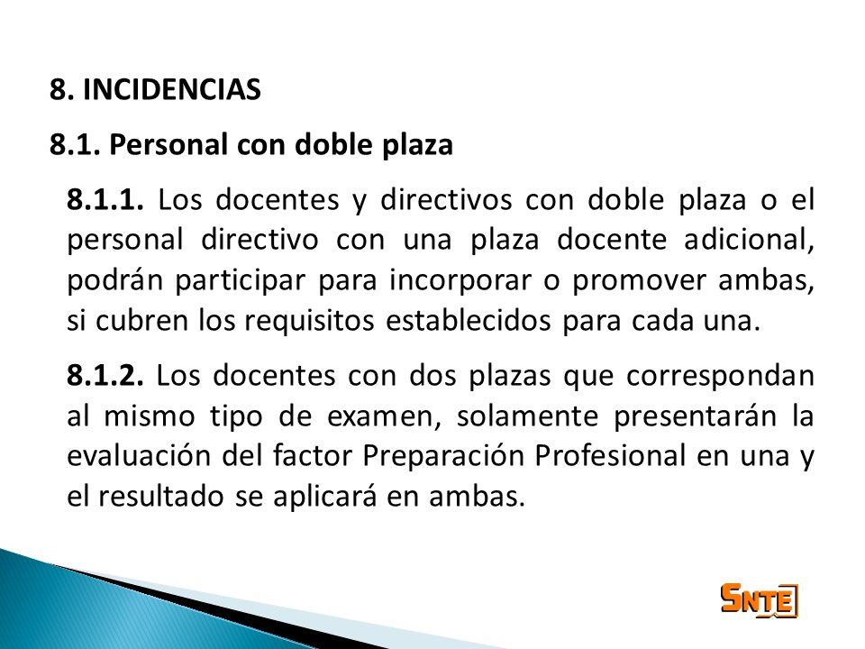 8. INCIDENCIAS 8.1. Personal con doble plaza 8.1.1. Los docentes y directivos con doble plaza o el personal directivo con una plaza docente adicional,