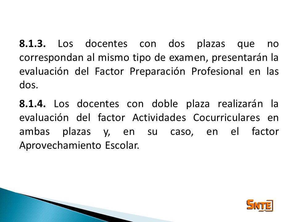 8.1.3. Los docentes con dos plazas que no correspondan al mismo tipo de examen, presentarán la evaluación del Factor Preparación Profesional en las do