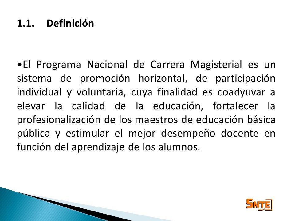 1.1. Definición El Programa Nacional de Carrera Magisterial es un sistema de promoción horizontal, de participación individual y voluntaria, cuya fina