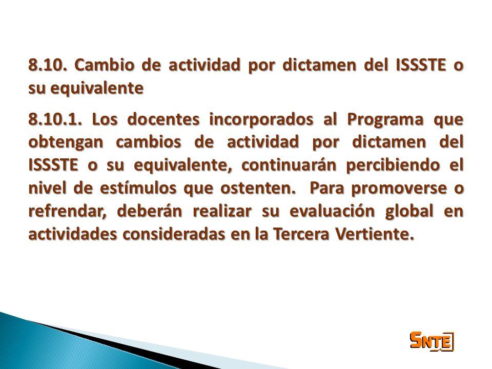 8.10. Cambio de actividad por dictamen del ISSSTE o su equivalente 8.10.1. Los docentes incorporados al Programa que obtengan cambios de actividad por