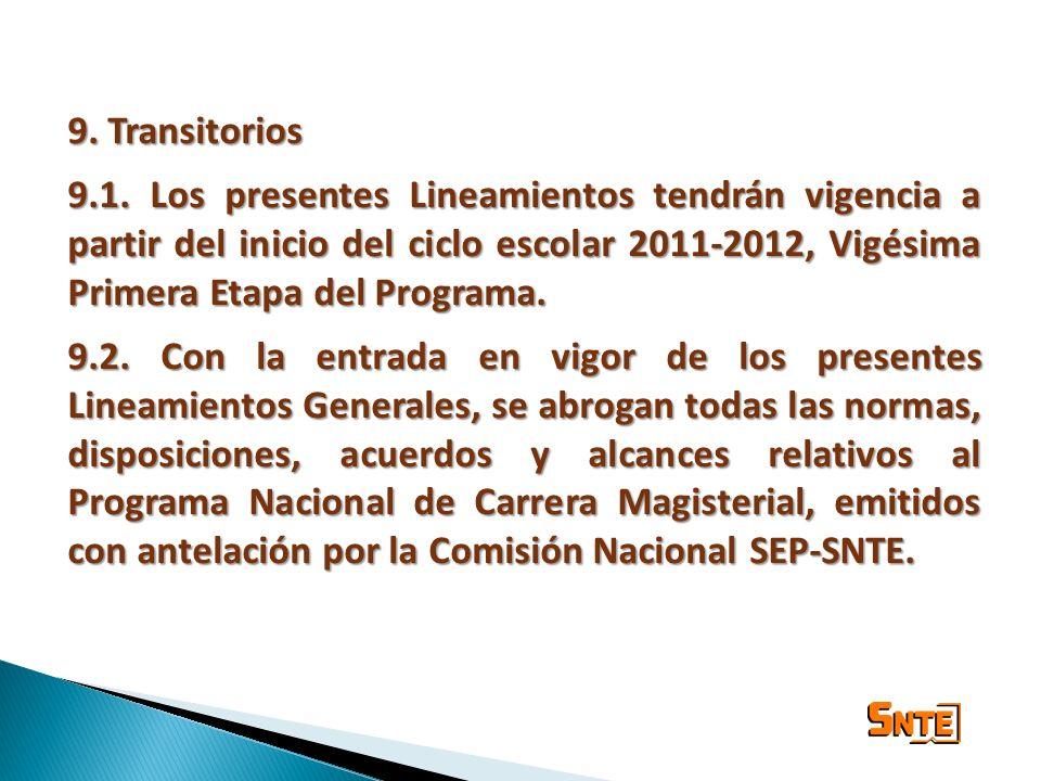 9. Transitorios 9.1. Los presentes Lineamientos tendrán vigencia a partir del inicio del ciclo escolar 2011-2012, Vigésima Primera Etapa del Programa.