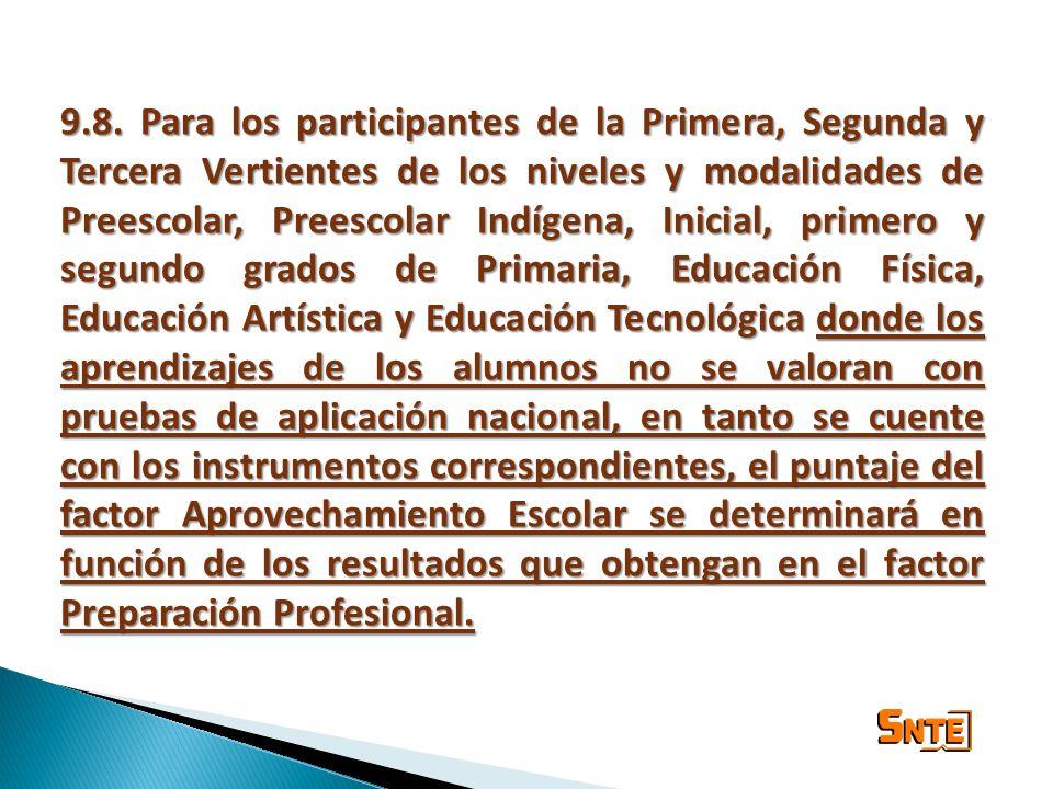 9.8. Para los participantes de la Primera, Segunda y Tercera Vertientes de los niveles y modalidades de Preescolar, Preescolar Indígena, Inicial, prim