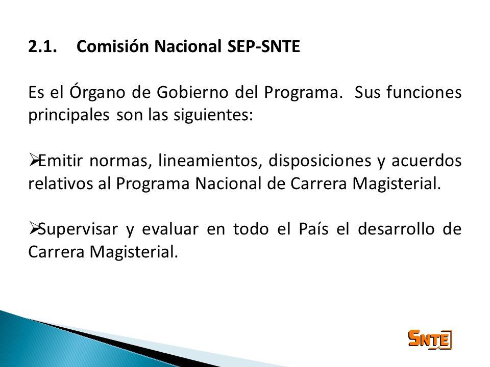 2.1. Comisión Nacional SEP-SNTE Es el Órgano de Gobierno del Programa. Sus funciones principales son las siguientes: Emitir normas, lineamientos, disp