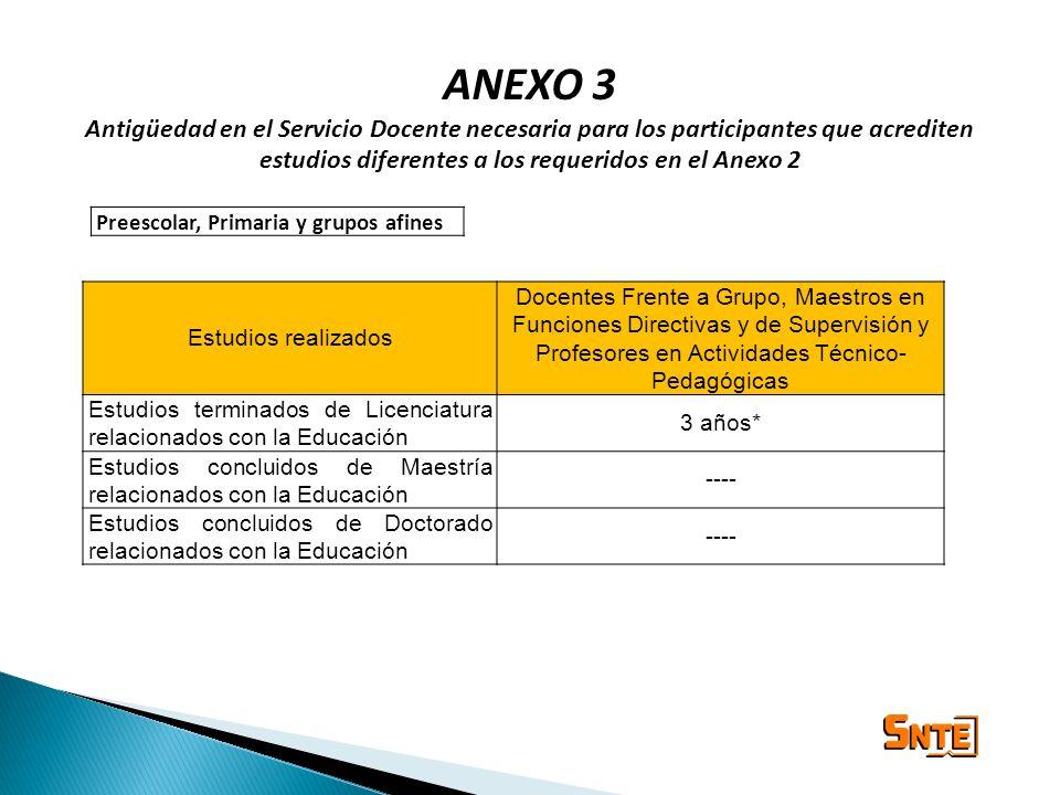 ANEXO 3 Antigüedad en el Servicio Docente necesaria para los participantes que acrediten estudios diferentes a los requeridos en el Anexo 2 Estudios r