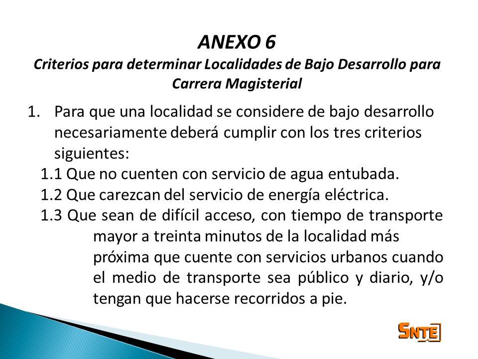 ANEXO 6 Criterios para determinar Localidades de Bajo Desarrollo para Carrera Magisterial 1.Para que una localidad se considere de bajo desarrollo nec