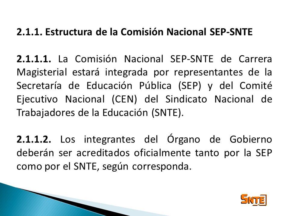2.1.1. Estructura de la Comisión Nacional SEP-SNTE 2.1.1.1. La Comisión Nacional SEP-SNTE de Carrera Magisterial estará integrada por representantes d