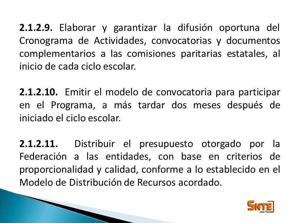 2.1.2.9. Elaborar y garantizar la difusión oportuna del Cronograma de Actividades, convocatorias y documentos complementarios a las comisiones paritar