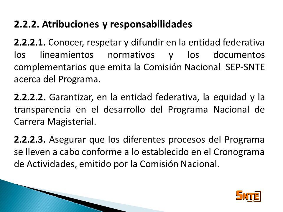 2.2.2. Atribuciones y responsabilidades 2.2.2.1. Conocer, respetar y difundir en la entidad federativa los lineamientos normativos y los documentos co