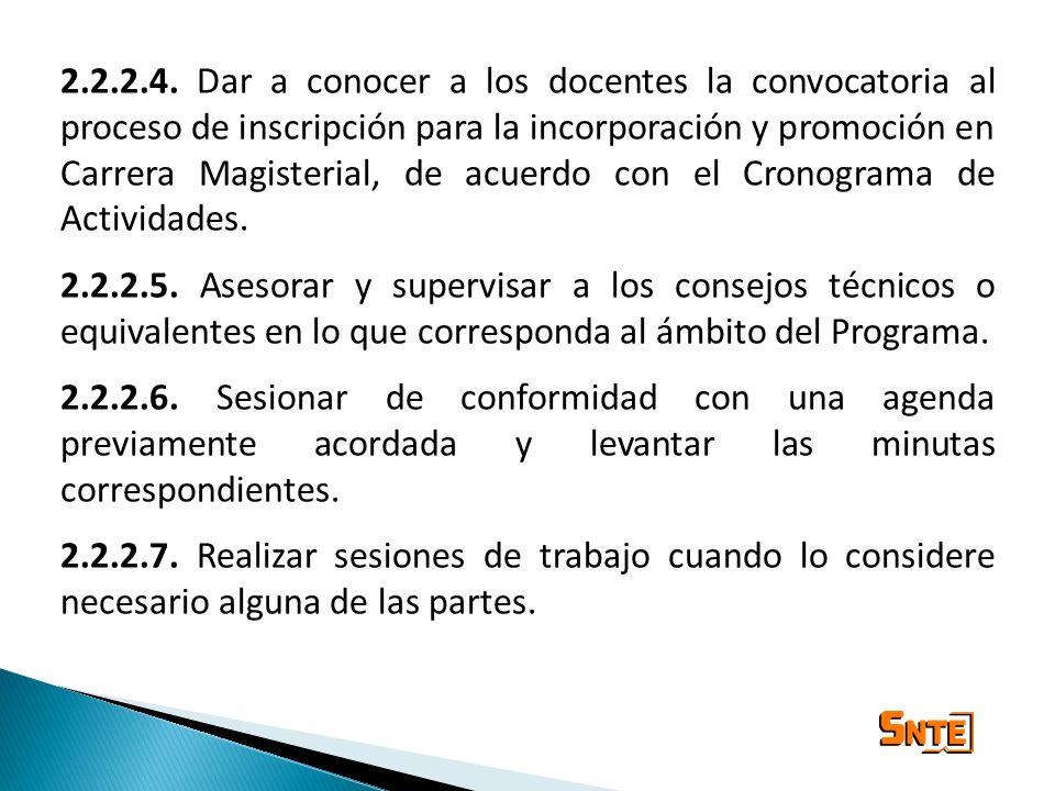 2.2.2.4. Dar a conocer a los docentes la convocatoria al proceso de inscripción para la incorporación y promoción en Carrera Magisterial, de acuerdo c