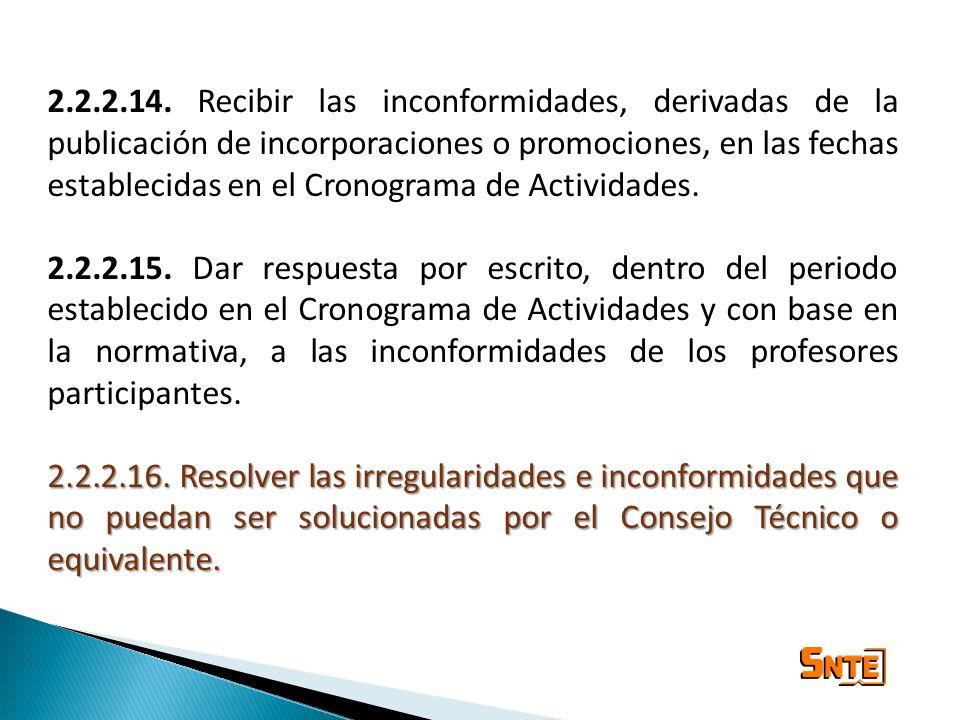 2.2.2.14. Recibir las inconformidades, derivadas de la publicación de incorporaciones o promociones, en las fechas establecidas en el Cronograma de Ac