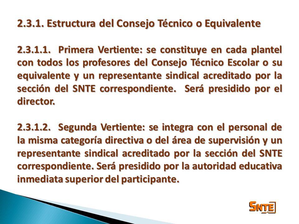2.3.1. Estructura del Consejo Técnico o Equivalente 2.3.1.1.Primera Vertiente: se constituye en cada plantel con todos los profesores del Consejo Técn