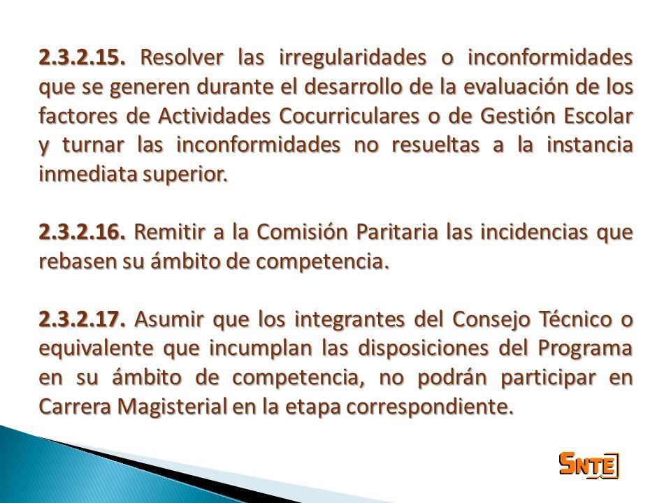 2.3.2.15. Resolver las irregularidades o inconformidades que se generen durante el desarrollo de la evaluación de los factores de Actividades Cocurric