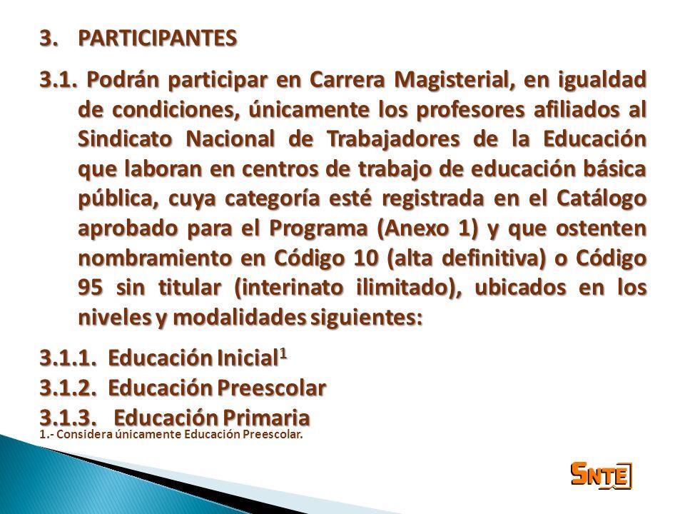3.PARTICIPANTES 3.1. Podrán participar en Carrera Magisterial, en igualdad de condiciones, únicamente los profesores afiliados al Sindicato Nacional d