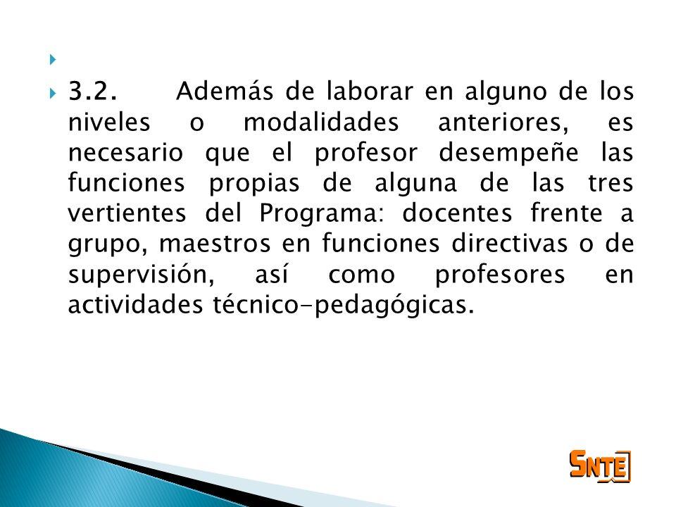3.2.Además de laborar en alguno de los niveles o modalidades anteriores, es necesario que el profesor desempeñe las funciones propias de alguna de las