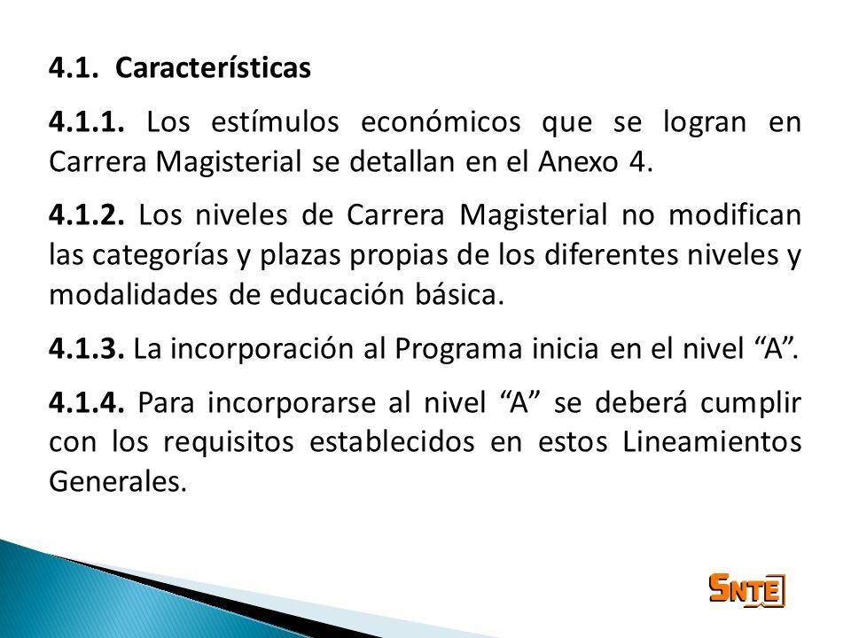 4.1. Características 4.1.1. Los estímulos económicos que se logran en Carrera Magisterial se detallan en el Anexo 4. 4.1.2. Los niveles de Carrera Mag