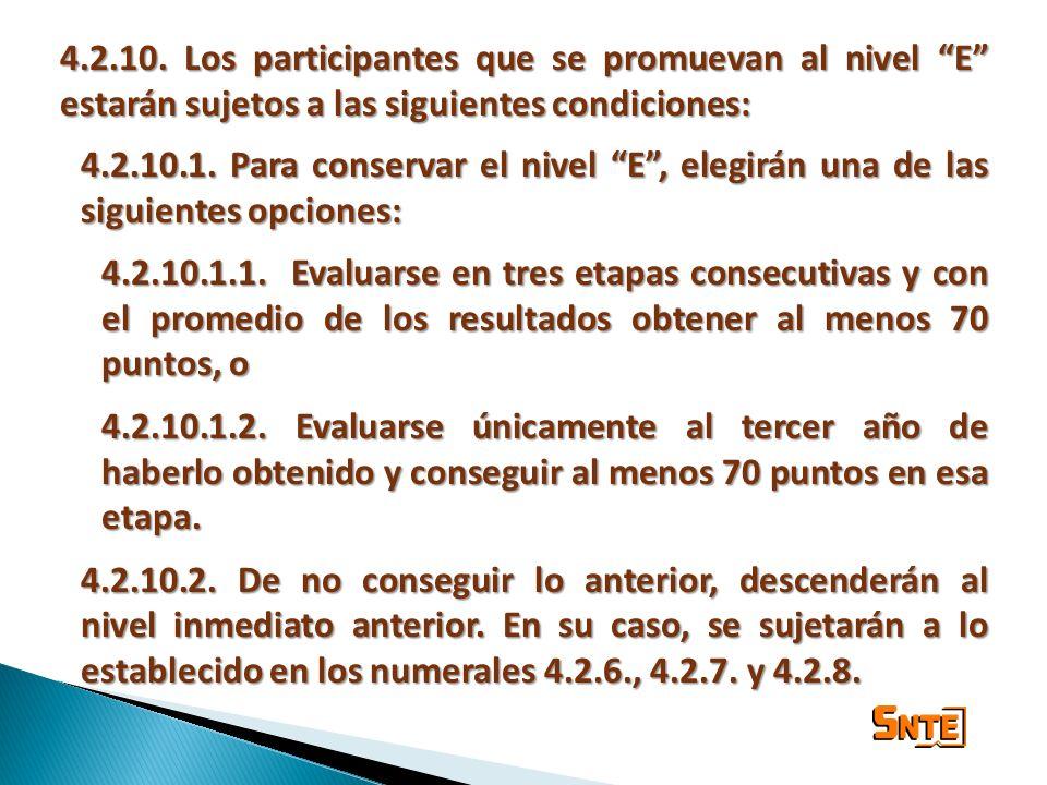 4.2.10. Los participantes que se promuevan al nivel E estarán sujetos a las siguientes condiciones: 4.2.10.1. Para conservar el nivel E, elegirán una