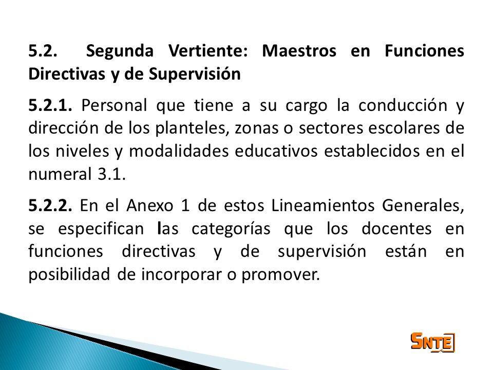 5.2. Segunda Vertiente: Maestros en Funciones Directivas y de Supervisión 5.2.1. Personal que tiene a su cargo la conducción y dirección de los plante