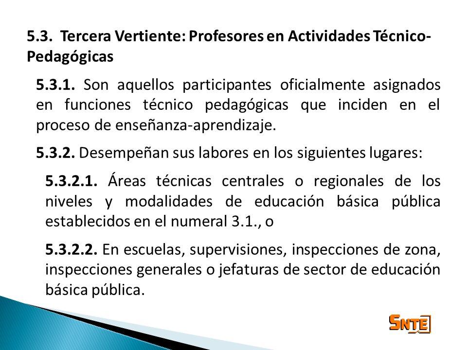 5.3. Tercera Vertiente: Profesores en Actividades Técnico- Pedagógicas 5.3.1. Son aquellos participantes oficialmente asignados en funciones técnico p