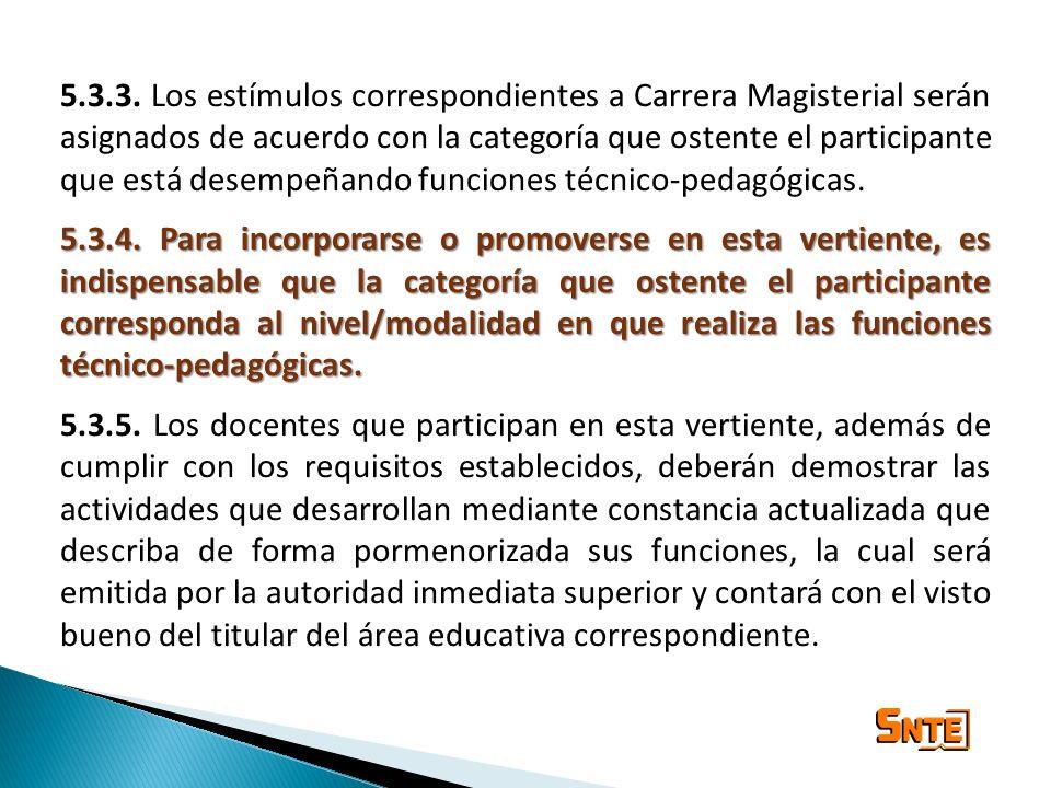 5.3.3. Los estímulos correspondientes a Carrera Magisterial serán asignados de acuerdo con la categoría que ostente el participante que está desempeña
