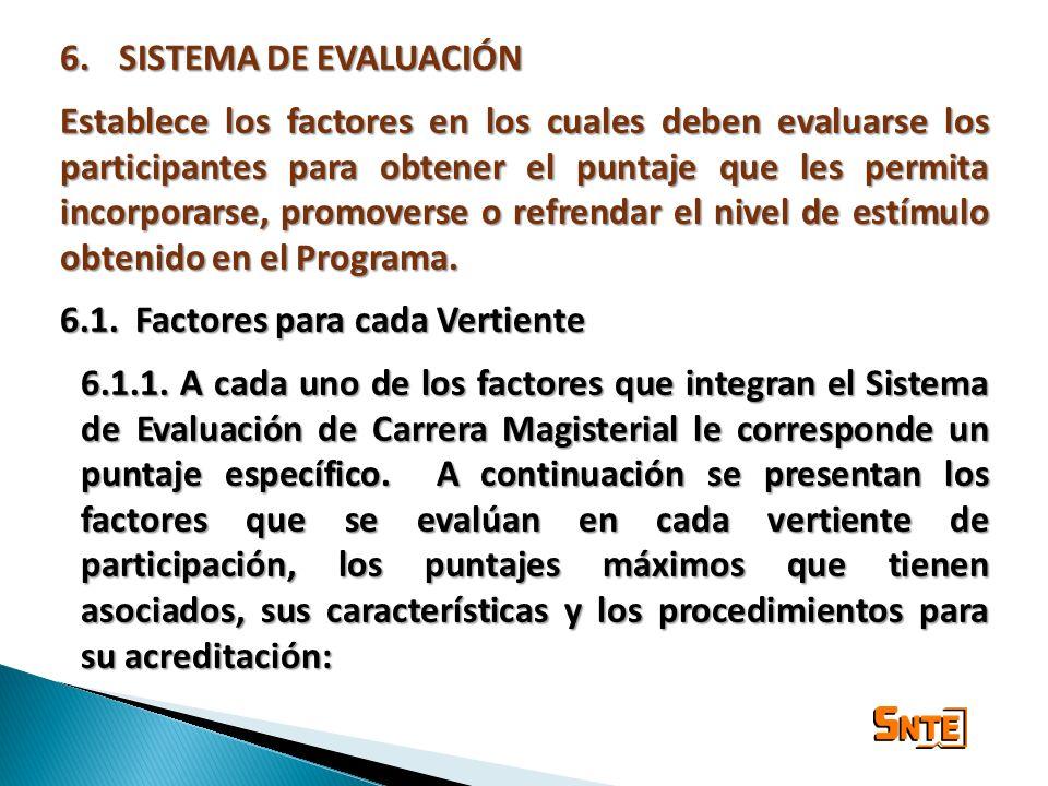 6.SISTEMA DE EVALUACIÓN Establece los factores en los cuales deben evaluarse los participantes para obtener el puntaje que les permita incorporarse, p