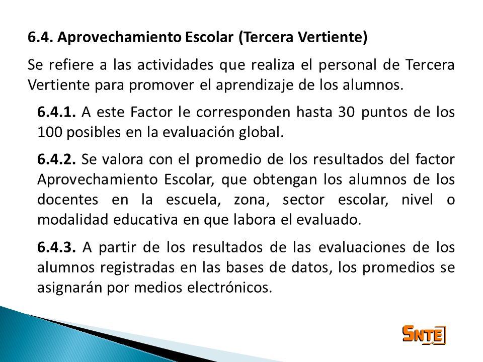 6.4. Aprovechamiento Escolar (Tercera Vertiente) Se refiere a las actividades que realiza el personal de Tercera Vertiente para promover el aprendizaj